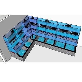 Hồ hải sản chữ L 3 tầng, Bể hải sản chữ L 3 tầng