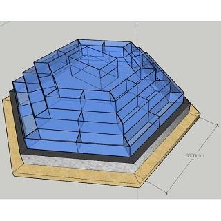 Hồ hải sản lục giác dạng tháp 3 tầng nền Ciment, Bể hải sản lục giác dạng tháp 3 tầng nền Ciment