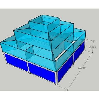 Hồ hải sản dạng tháp 3 tầng đế khung Inox, Bể hải sản dạng tháp 3 tầng đế khung inox